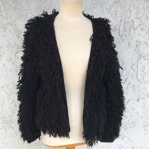 &Other Stories Black Grey Shaggy Knit Sweater S